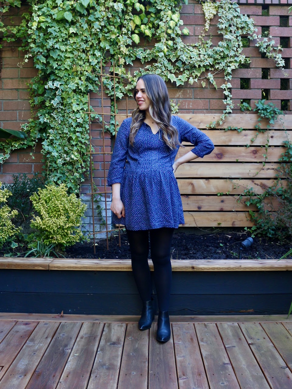 Jules in Flats - Printed Tie-Neck Swing Dress (Business Casual Workwear on a Budget)
