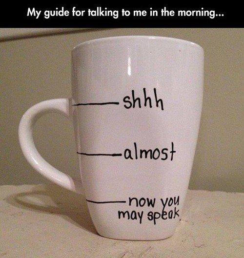 Funny Coffee Talking Guide Mug Joke Picture
