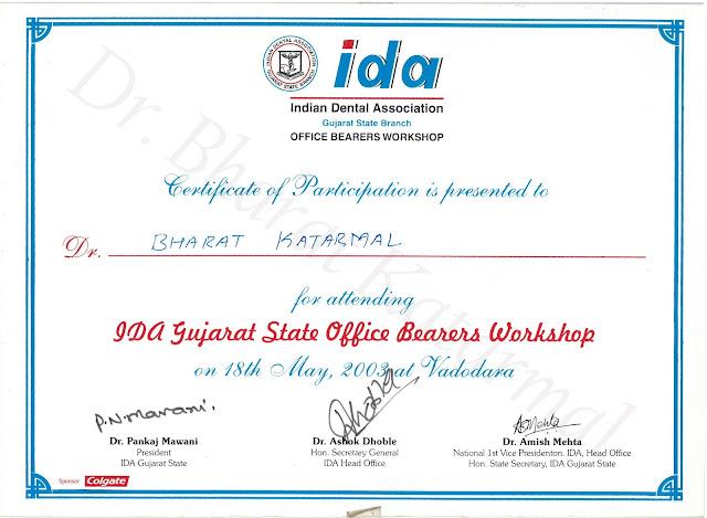 IDA Gujarat State Office Bearers workshop