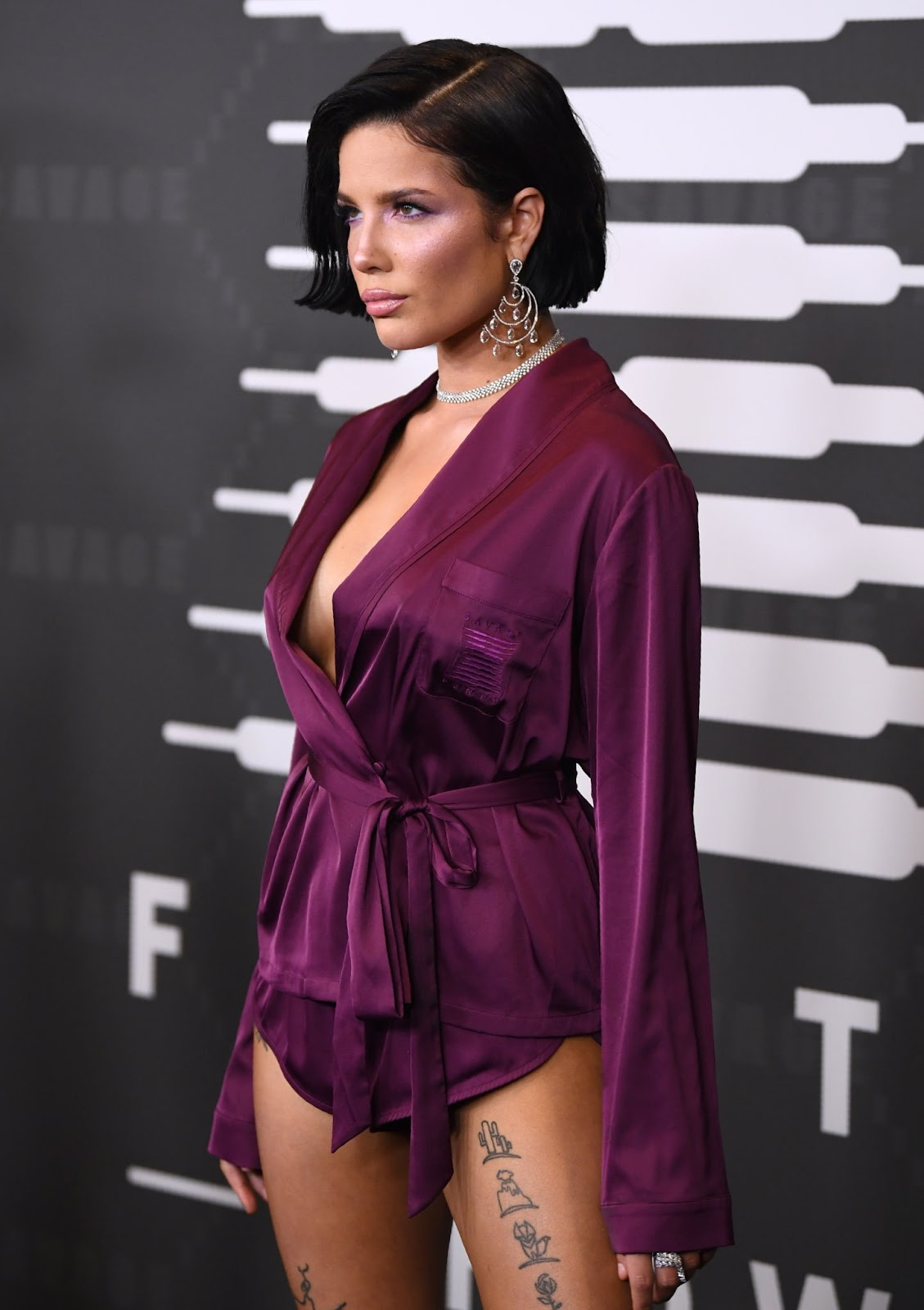 Halsey looks incredible in silk playsuit as she arrives at Rihanna's lingerie launch
