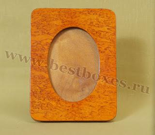 Рамочка для фотографий Овал Карельская берёза, 9х13, фото 1