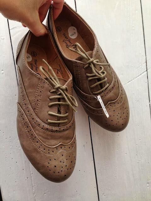 a pair of light brown brogues from New Look