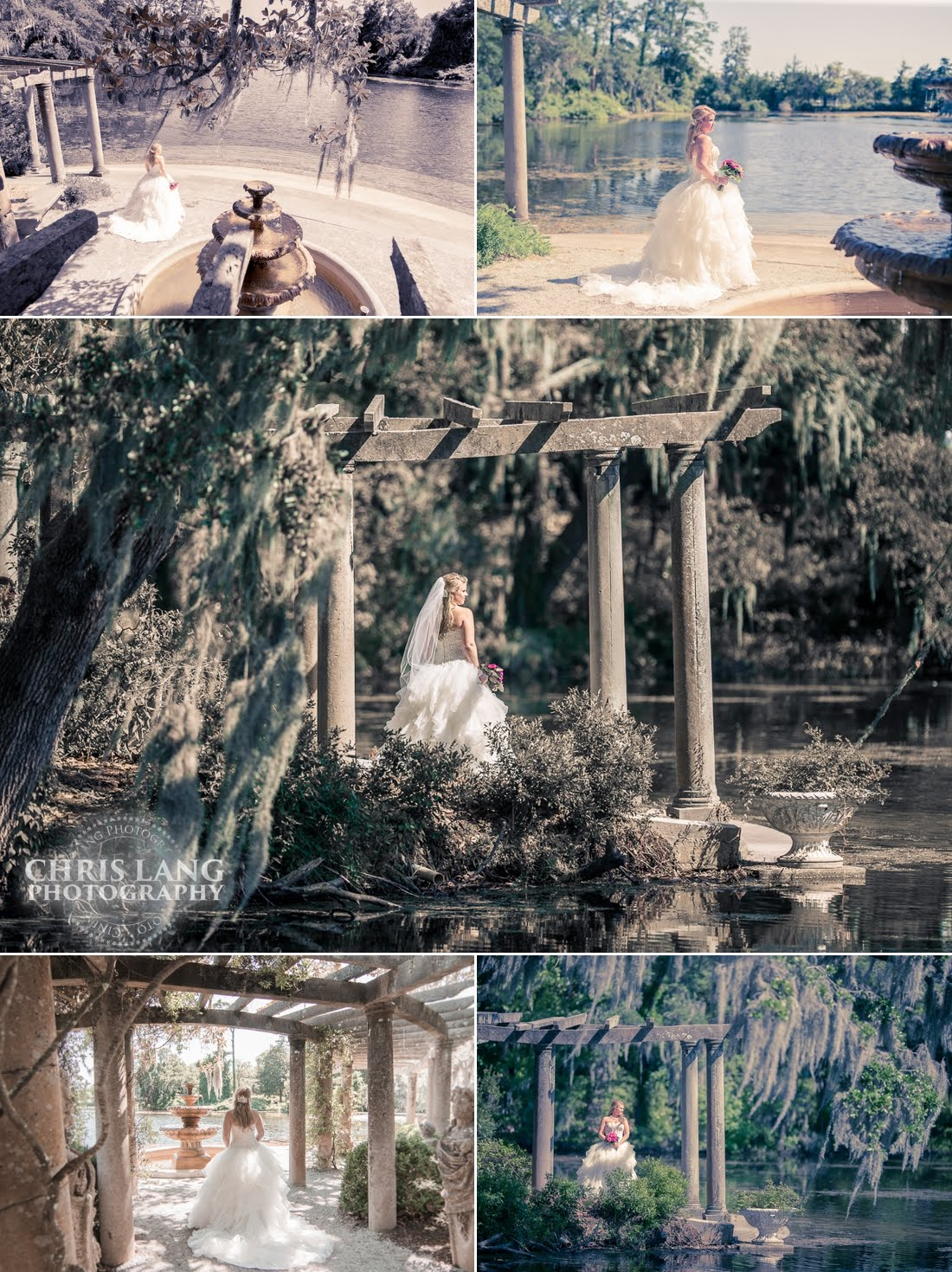 Bridal picture at the fountain -Airlie Gardens Wedding Venue - Bridal Picture Ideas - Inspiration - Bride  - Wedding Dress - Garden weddings - Chris Lang Weddings - North Carolina Wedding Photographers