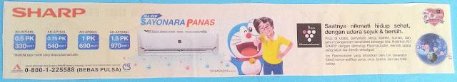 AC Sharp Sayonara Panas Versi Doraemon dan Nobita