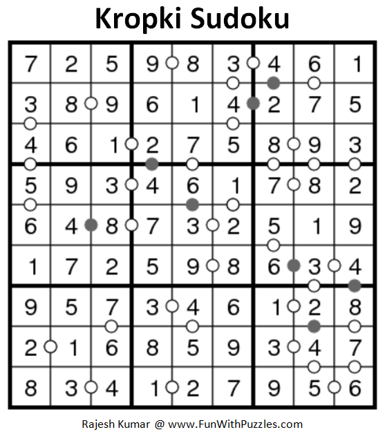 Kropki Sudoku (Daily Sudoku League #161) Answer