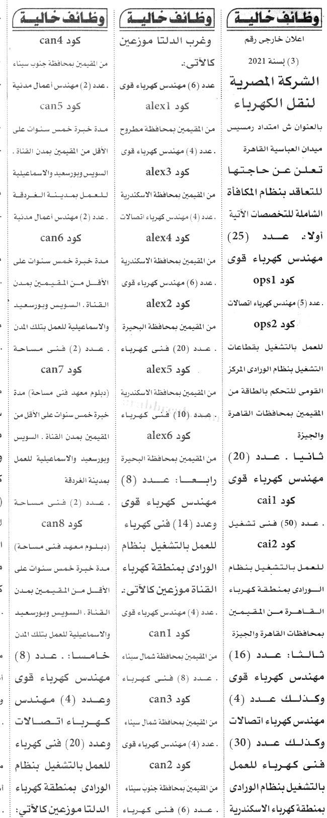 اعلان وظائف وزارة الكهرباء والطاقة - الشركة المصرية لنقل الكهرباء تطلب 473 وظيفة مؤهل عالي ومتوسط 10 / 9 / 2021