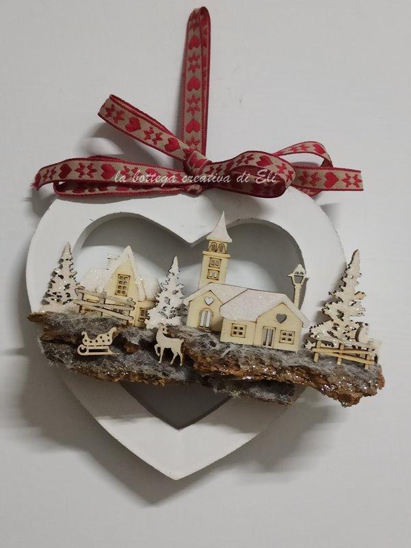 paesaggio in miniatura - cuore legno