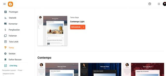 tampilan dashboard blogger