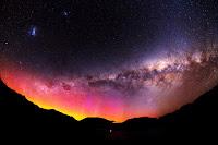Aurora, Milky Way Galaxy, Large Magellanic Cloud Galaxy and Small Magellanic Cloud Galaxy seen over Queenstown