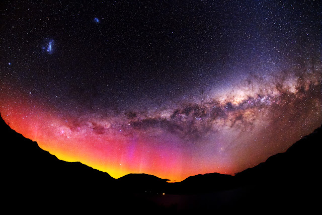 Aurora, Milky Way Galaxy, Large Magellanic Cloud Galaxy and Small Magellanic Cloud Galaxy seen over Queenstown