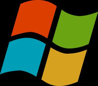 マイクロソフトのトレードマーク…オレンジ、緑、青、黄色のに分割した旗のような形