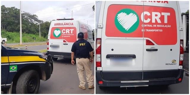 Paciente foge dirigindo ambulância e é contido pela PRF em Teresina