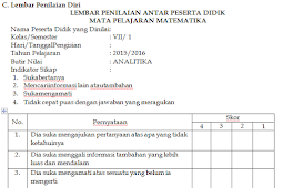 Format Penilaian Analitika Sikap Sosial Kritis Siswa Antar Teman Kurikulum 2013