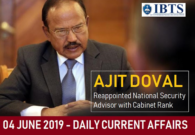 04 June 2019 - Daily Current Affairs