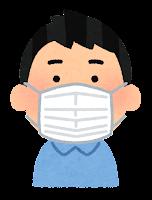 マスクを付けた人のイラスト(アジア人男性)