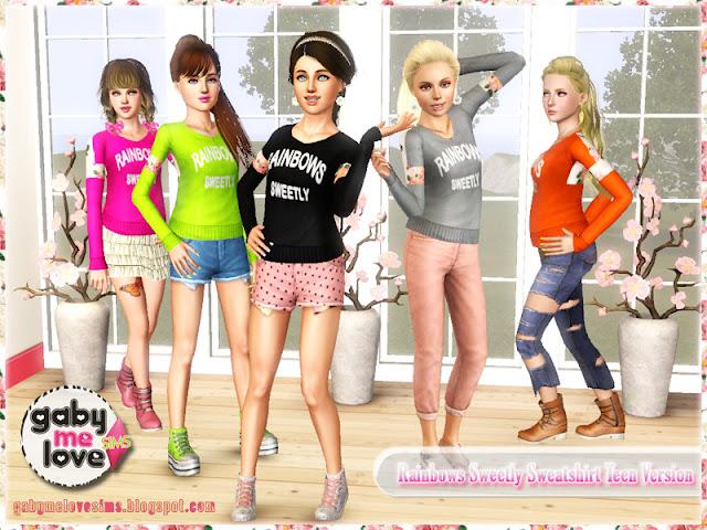 Rainbows Sweetly Sweatshirt Teen Version ~ Asian Fashion, Sims 3. Muestras