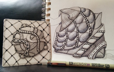 small intricate abstract Zentangle drawings with Micron pen for size