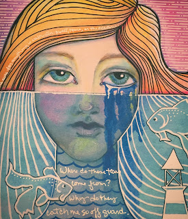 Laurie Sikorowski - Salt Water Mermaid Art Journal Page Detail