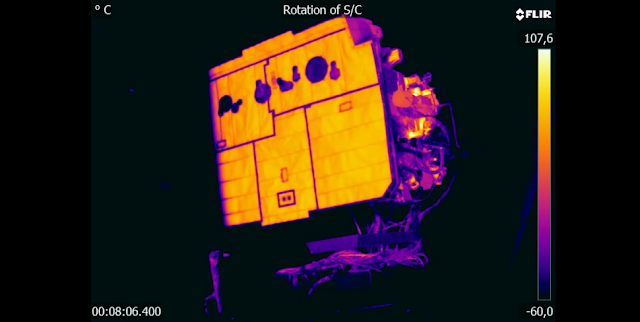 Solar Orbiter during thermal-vacuum tests. Credit: Airbus Defence and Space/IABG
