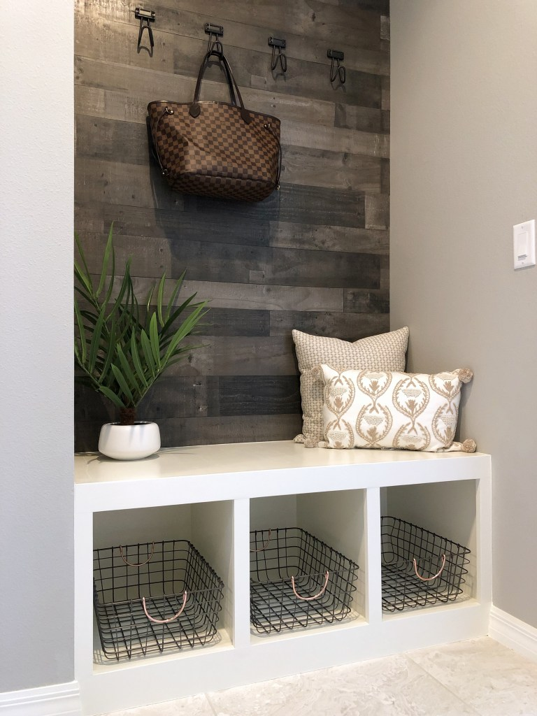 DIY mud room bench with wood wall