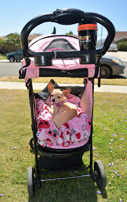 Pink dog stroller