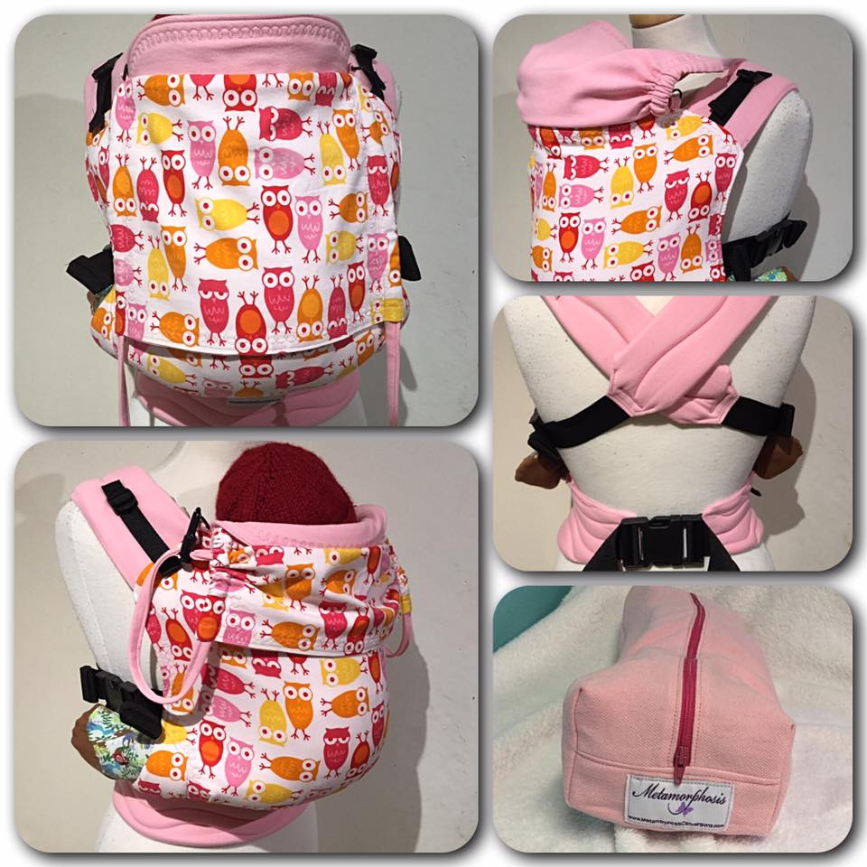 "15"" Full buckle carrier with pink owls print"