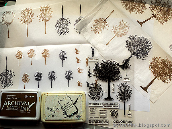 Layers of ink - Spring Canvas Mixed Media Tutorial by Anna-Karin Evaldsson. Stamp Simon Says Stamp All Seasons Tree on tissue paper.