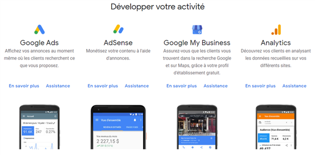 Les Outils Google pour Web Master : Ads, AdSense, Analytics, My Business
