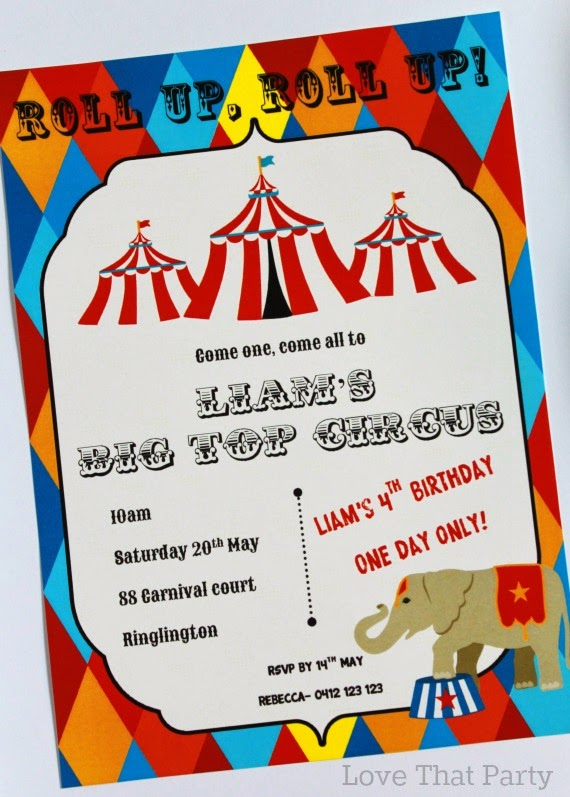Love That Party - Birthday Invitations and Party Decorations - circus party invitation