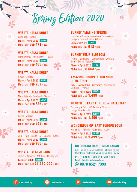Kalender Edisi Musim Semi 2020 Cheria Holiday