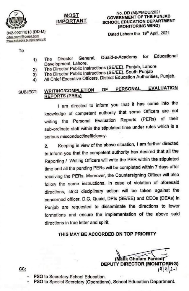 INSTRUCTIONS REGARDING COMPLETION OF PERSONAL EVALUATION REPORTS (PERs) OF EMPLOYEES OF EDUCATION DEPARTMENT
