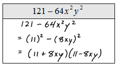 explain how to factor the difference of two squares