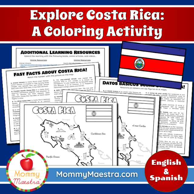 Country Coloring Activity: Costa Rica