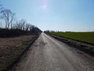 Селище Удачне. Сільськогосподарське поле і дорога