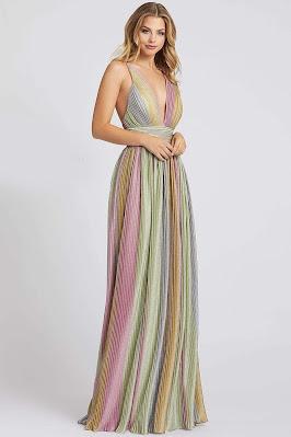 v-neckline Ieena for Mac Duggal evening dress Multi Color