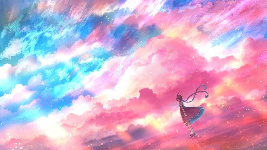 Beautiful, Blue, Pink, Sky, Cloud, Anime, Scenery, 4K, #6.2601