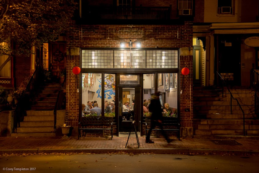Portland, Maine USA October 2017 photo by Corey Templeton Dinner time at Bao Bao Dumpling House on Spring Street.