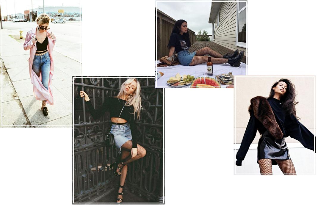 jeansowa spodnica i kabaretki