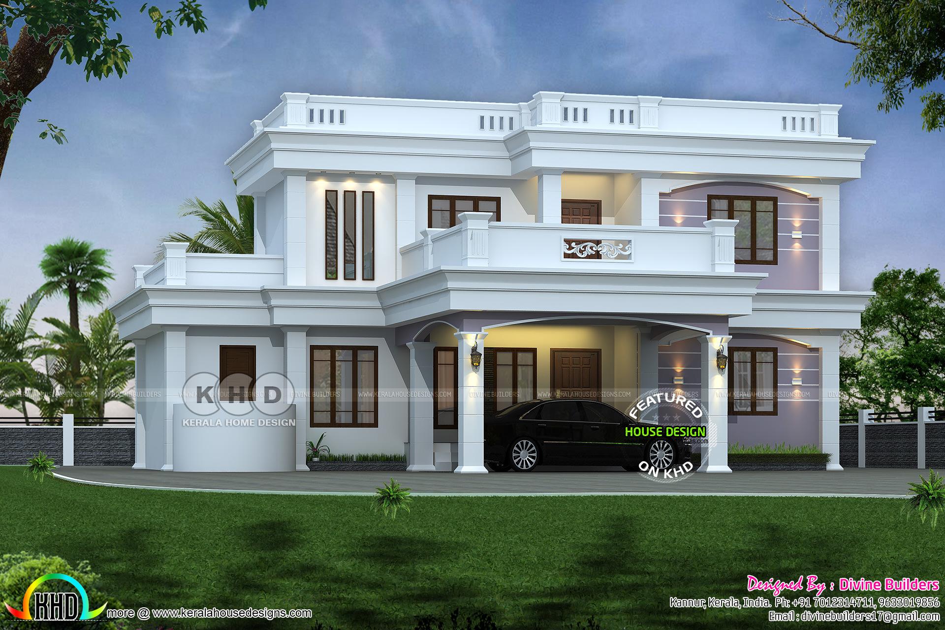 Beautiful 4 bedroom modern flat roof architecture - Kerala ...