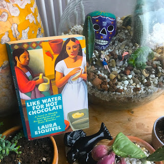Photo of book Like Water for Hot Chocolate by Laura Esquivel amongst potted plants and an ornamental sugar skull