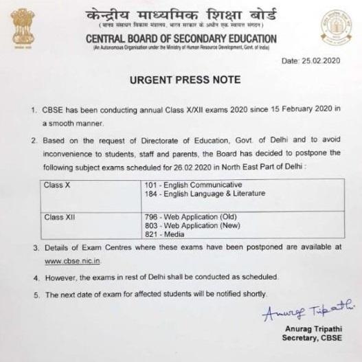 CBSE Postpones Tomorrow's Board Exams in Northeast Delhi