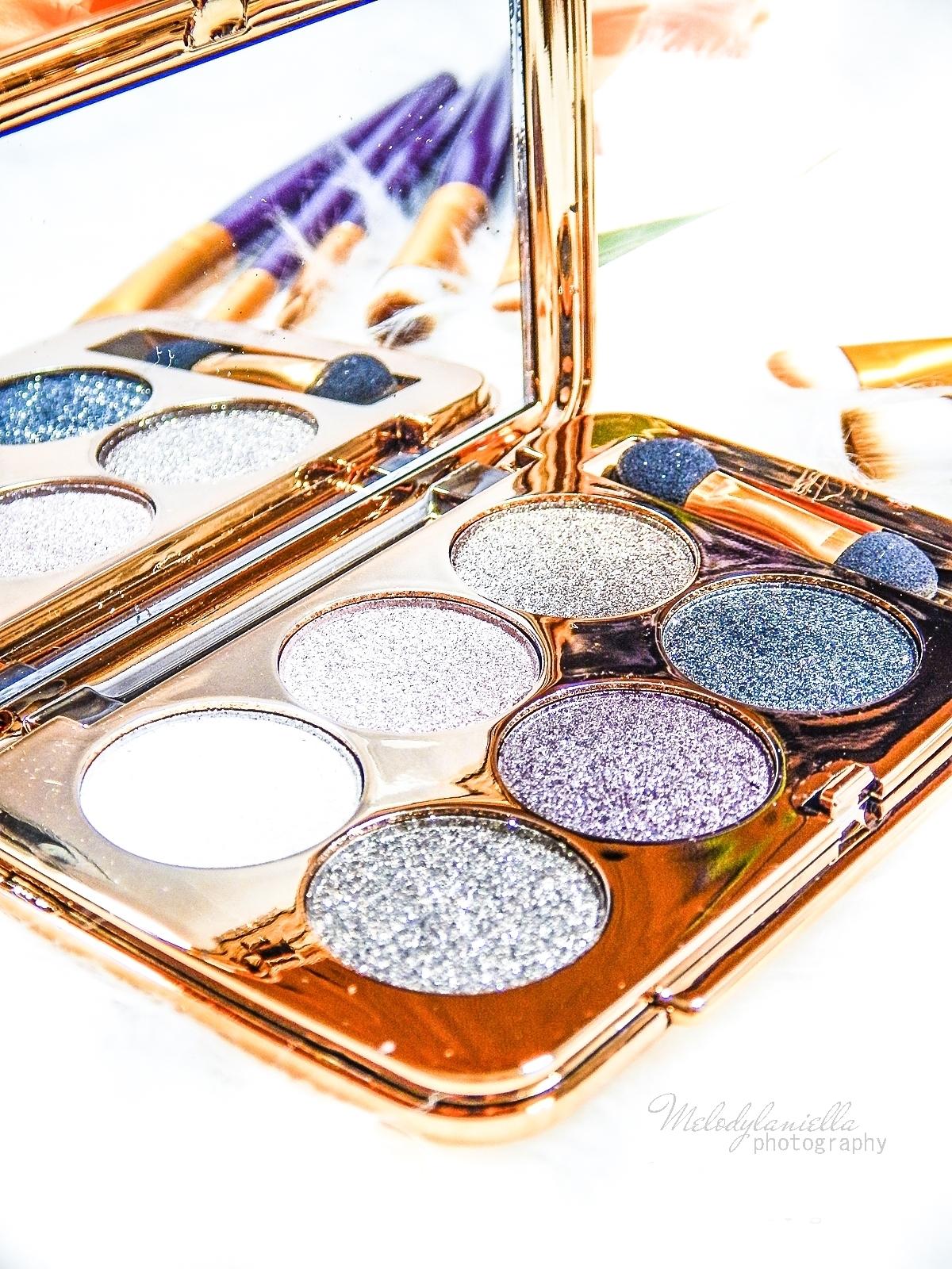 2 azjatyckie chińskie kosmetyki recenzja melodylaniella beauty paleta 6 cieni brokatowe cienie do powiek sammydress cienie do powiek ze złotem i brokatem tanie kosmetyki