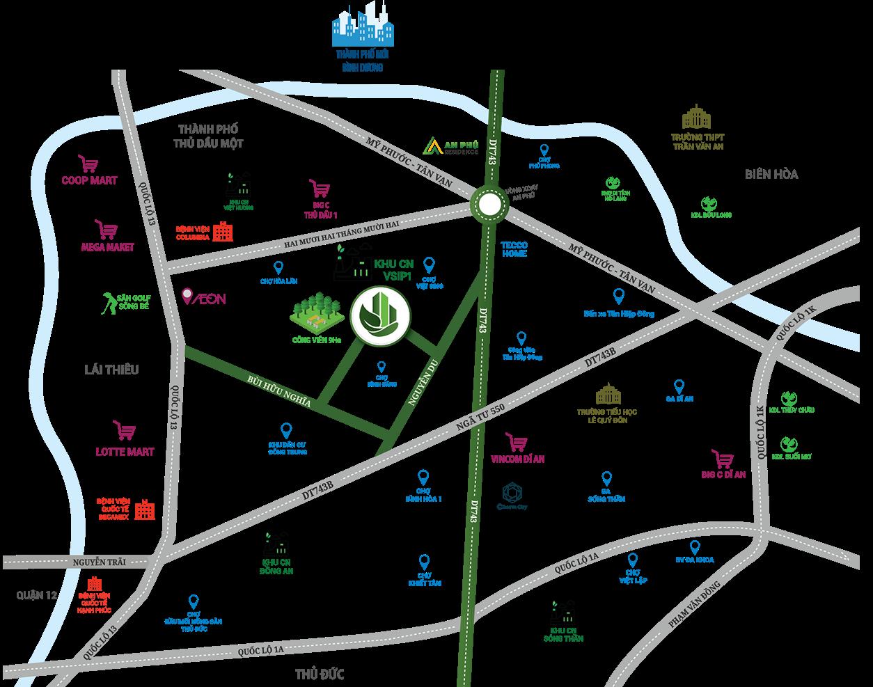 Bản đồ mô tả vị trí dự án Parkview Apartment Bình Dương