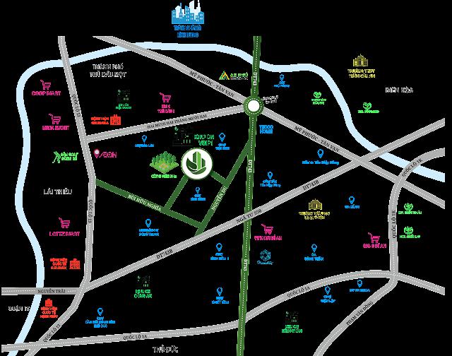 Bản đồ mô tả vị trí dự án Parkview Apartment Thuận An
