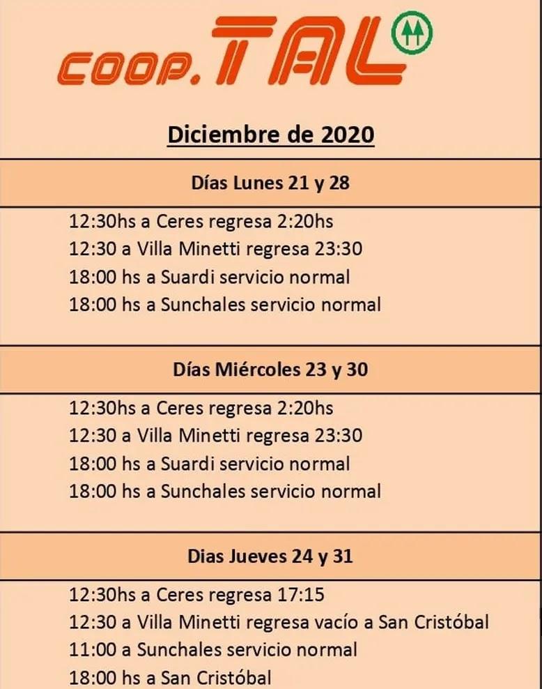 Horarios Ceres - Sunchales - San Cristobal