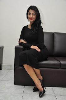 Actress Anisha Ambrose Stills in Black Dress at Run Movie Press Meet  0095.jpg