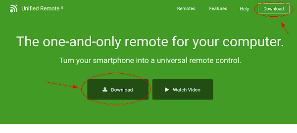 Botão Download do Unified Remote