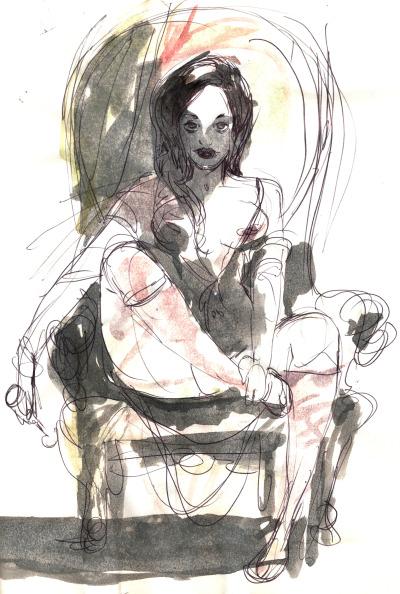 Mujer desnuda, cabello negro, trazo simple, estilizado, boceto
