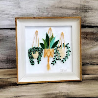 Hand Embroidered Whimsical Macramé Hanging Plants
