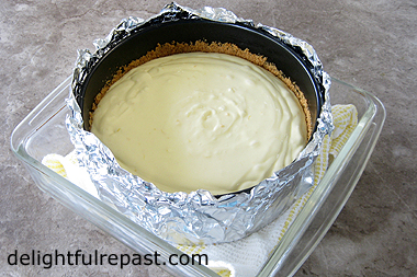 Meyer Lemon Cheesecake - or Other Lemon Cheesecake (this photo demonstrates the water bath baking method) / www.delightfulrepast.com
